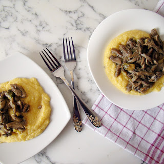 Mushroom and Brussels Sprouts over Polenta