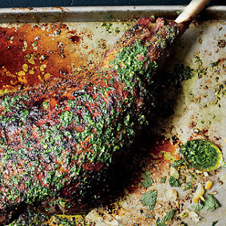 Slow-Grilled Leg of Lamb with Mint Yogurt and Salsa Verde.