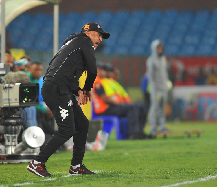 Highlands Park coach Owen Da Gama cuts a frustrated figure on the touchline during the Absa Premiership match against Mamelodi Sundowns at Loftus Versfeld Stadium on August 22 2018.