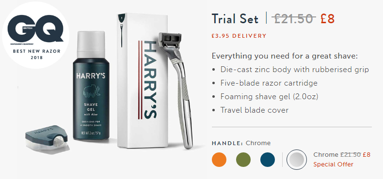 Coffee offer in physical products. Customization of trial offer: premium + shipping. Harry's.
