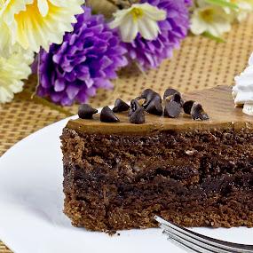 Cake by Ranjani Bharath - Food & Drink Cooking & Baking ( cake, chocolate cake, chocolate, red, white, brown )
