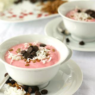 Frozen Strawberry Yogurt With Toppings.