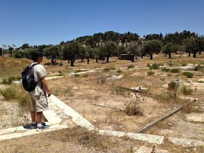 Photo: Fr Paul (Salesian) and I looking at some remains of a 5th century church...