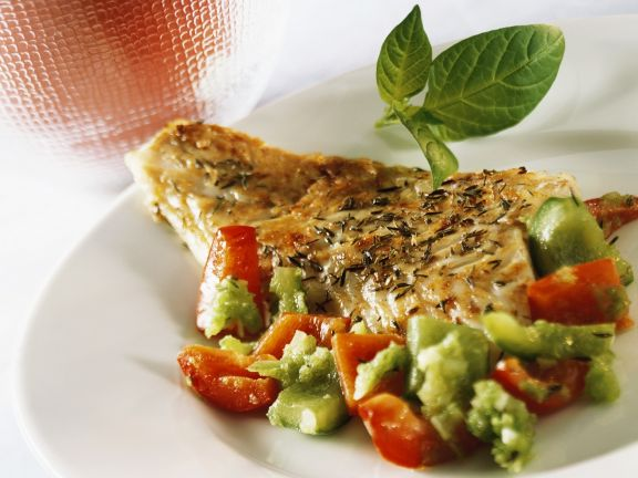 Hake Fillet with Mixed Peppers Recipe
