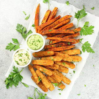 Fish Sticks and Sweet Potato Fries with Avocado Ranch Sauce.
