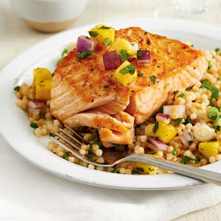 Seared Salmon with Buttery Couscous and Mango Salsa