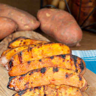 Grilled Sweet Potatoes with Cherry Glaze.