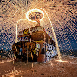 Fire Bus by Givanni Mikel - Abstract Light Painting ( utah, bus, sparks, night, steel wool, fire, long exposure, desert,  )