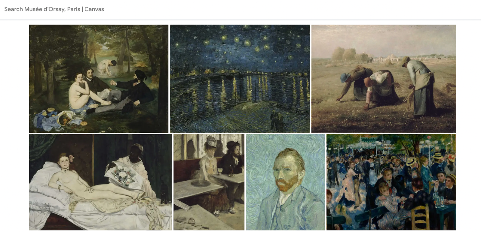Digital collection of works at the Musée d'Orsay in Paris.