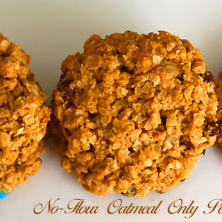 Eggless Flour-less Only Oatmeal Peanut Butter Cookies.