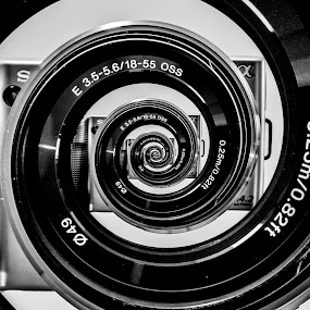 Spiralled by Christian Skilbeck - Abstract Patterns ( black and white, camera, black and white collection, spiral, droste effect )