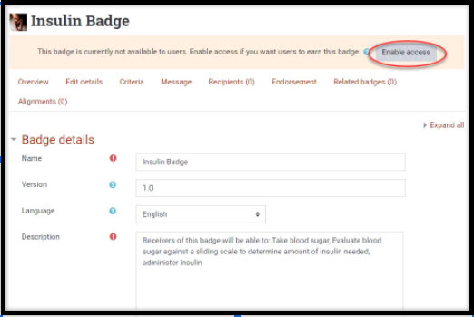 Screenshot showing Enable access button for badges