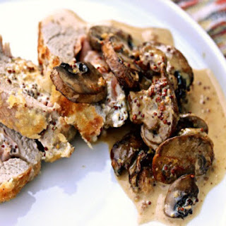 Pork Tenderloin Cordon Bleu with Mushroom-Mustard Cream Sauce