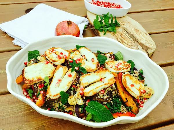 Quinoa, Salad With Roast Or Grilled Vegetables, Halloumi Cheese Zaatar And Pomegranate. So Healthy, So Good, So Heavenly!