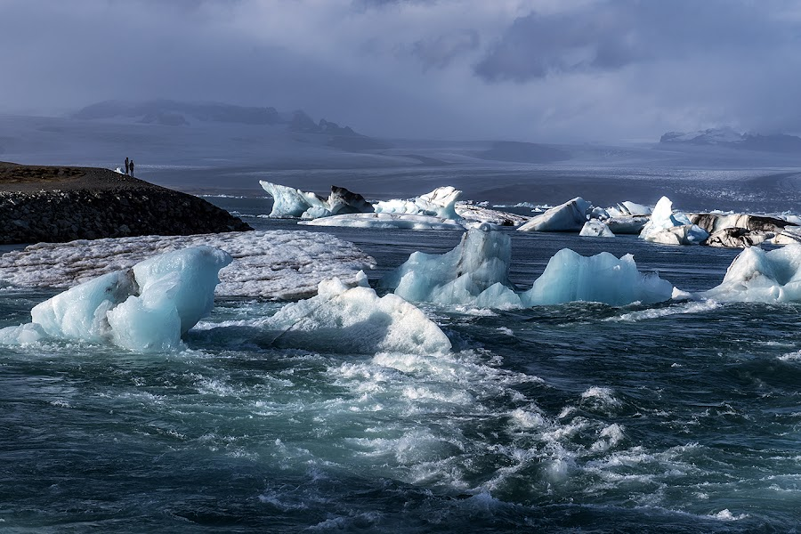 Iceland by Jaro Miščevič - Landscapes Waterscapes ( mountains, iceland, sky, cold, blue, waves, ice rocks, people, colours )