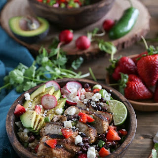 Grilled Balsamic Chicken with Strawberry Black Bean Salsa.