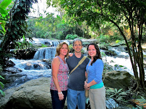 Photo: Lisa, Chad and Audrey by the waterfall
