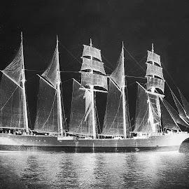 by Lew Hill - Transportation Boats ( ship ships boat yacht schooner black,  )