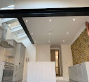 Kitchen area with skylight
