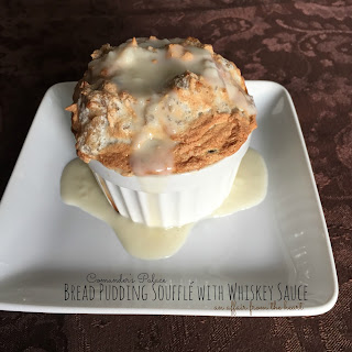 Bread Pudding Soufflé with Whiskey Sauce.