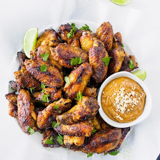 Baked Thai Chicken Wings with Peanut Sauce.