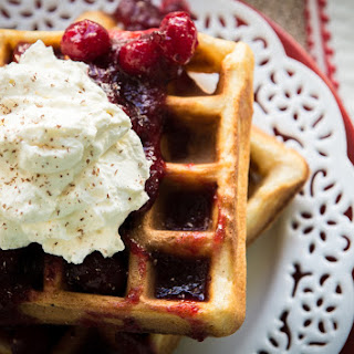 Gluten Free Eggnog Waffles with Warm Bourbon Cranberry Compote.