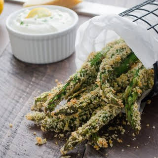 Crispy Parmesan Asparagus Fries with Lemon Greek Yogurt Dip.