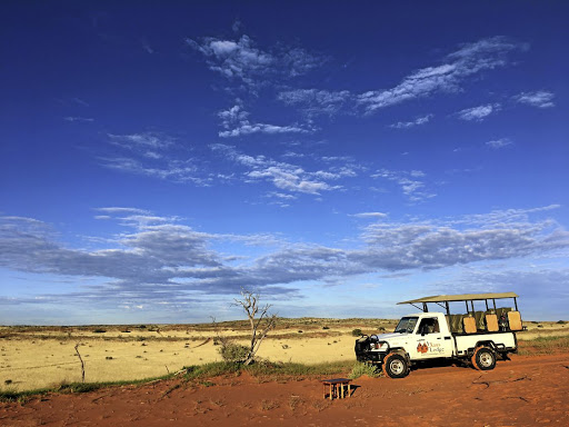 A !Xaus Lodge open-air game viewing vehicle from which you can take in the expanse that is the Kgalagadi Transfrontier Park. Lions are to be found among the abundant wildlife