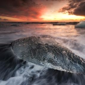 Seethrough by Kaspars Dzenis - Landscapes Beaches ( jokulsarlon, iceland, waves, ice, dzenis photo, long exposure, beach, landscape,  )