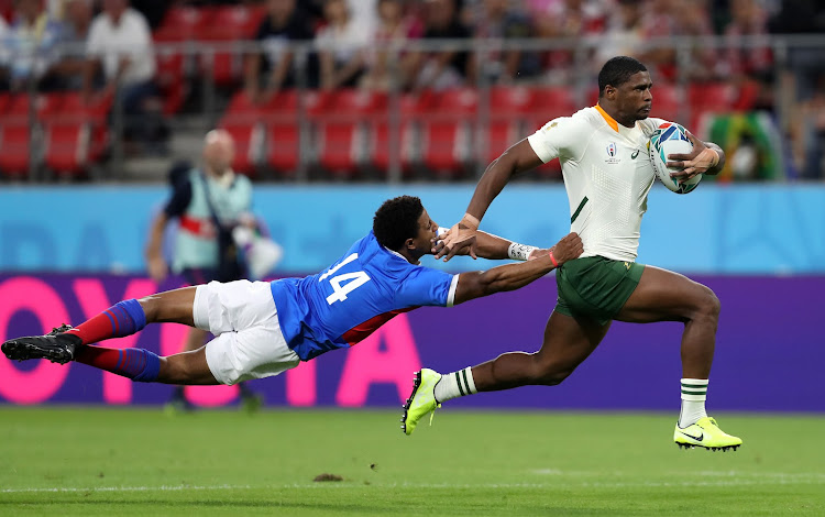 Namibia's Chad Plato tackles South Africa's Warrick Gelant during the 2019 Rugby World Cup match at the City of Toyota Stadium, Toyota City, Japan.