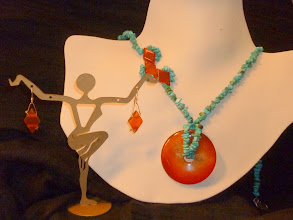 Photo: <BEREHYNYA> {Great Goddess Protectress} unique one-of-a-kind statement jewellery by Luba Bilash ART & ADORNMENT  COMING HOME – ШЛЯХ ДОДОМУ - carnelian pendаnt & stones, turquoise, SS , rose gold vermeil SOLD
