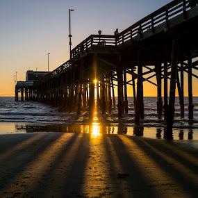 Rays of Fading by Tim Davies - Landscapes Beaches ( calidornia, light rays, sunset, newport beach, pier, beach,  )