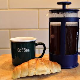 Breakfast by Morgan Bardon - Food & Drink Alcohol & Drinks ( plunger, coffee, breakfast, crossaint, morning )