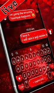 Live Red Romantic Heart Keyboard Theme 3