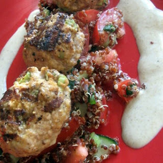 Grilled Lamb Kofta (Meatballs) with Scarlet Quinoa Tomato Cucumber Salad
