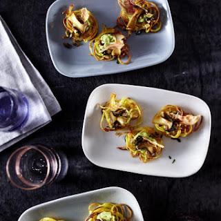 Potato Nests with Wild Mushrooms and Avocado Cream