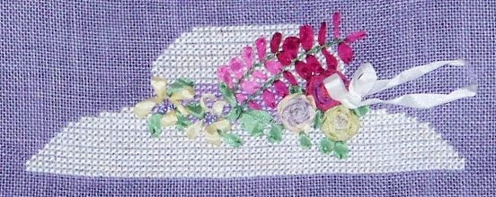 Photo: Completed 30 Mar 2008. This was one of the projects from the 2008 Stitching Friends Retreat - Garden Party Samplings put on by A Stitcher's Garden. Ribbons in Bloom (2008) by A Stitcher's Garden. Stitched on 30ct R&R Beach Plum Linen with Weeks Dye Works, DMC and Thread Gatherer ribbons. Stitch count: 75w x 25h.