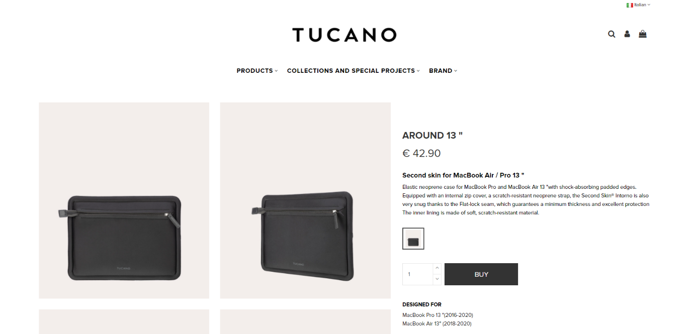 "Screenshot from Tucano's website showing a product listing of their MacBook case and the description stating it's a ""second skin"" - clearly portraying their value proposition of safety but not in a bulky way"