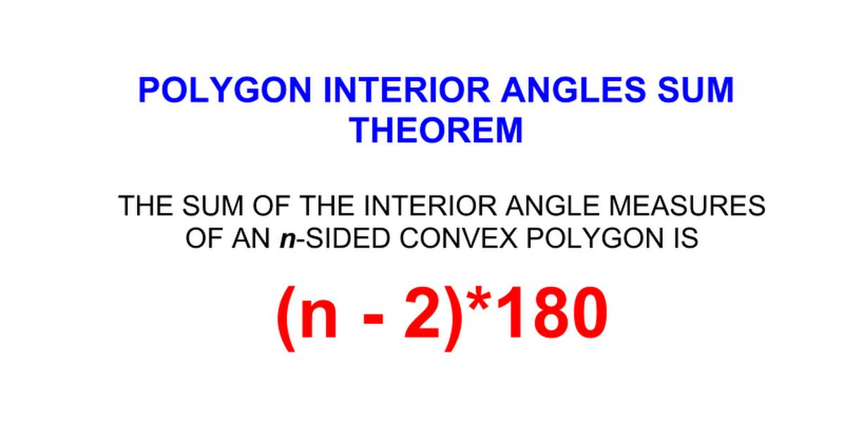 Polygon Interior Angles Sum Google Slides