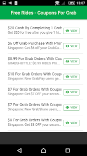 Free Rides - Coupons For Grab - náhled