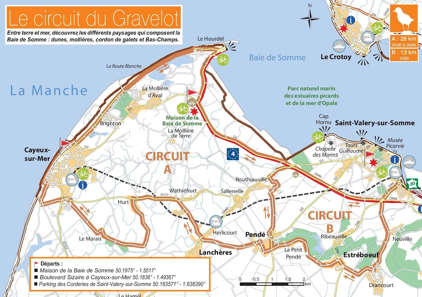 Carte du circuit à vélo du Gravelot