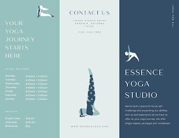 Essence Yoga Pamphlet - Trifold Brochure template