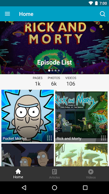 FANDOM for: Rick and Morty Android App Screenshot