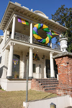 Photo: 21Feb14MostlyDelphine.  2337 Government St., now decorated for Mardi Gras.