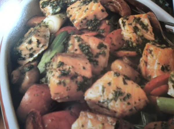 Roasted Salmon, Carrots,mushrooms &new Potatoes