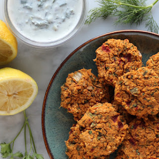 Roasted Red Pepper Falafels with Tzatziki Sauce (Vegan, GF)