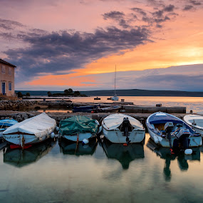 Lošinj by Tomaž Mikec - Landscapes Sunsets & Sunrises ( clouds, colors, boats, sea, sunrise, sun, island )