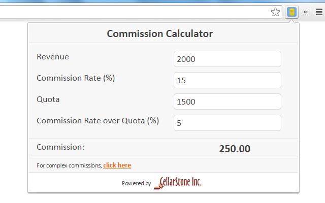 commission calculator chrome web store