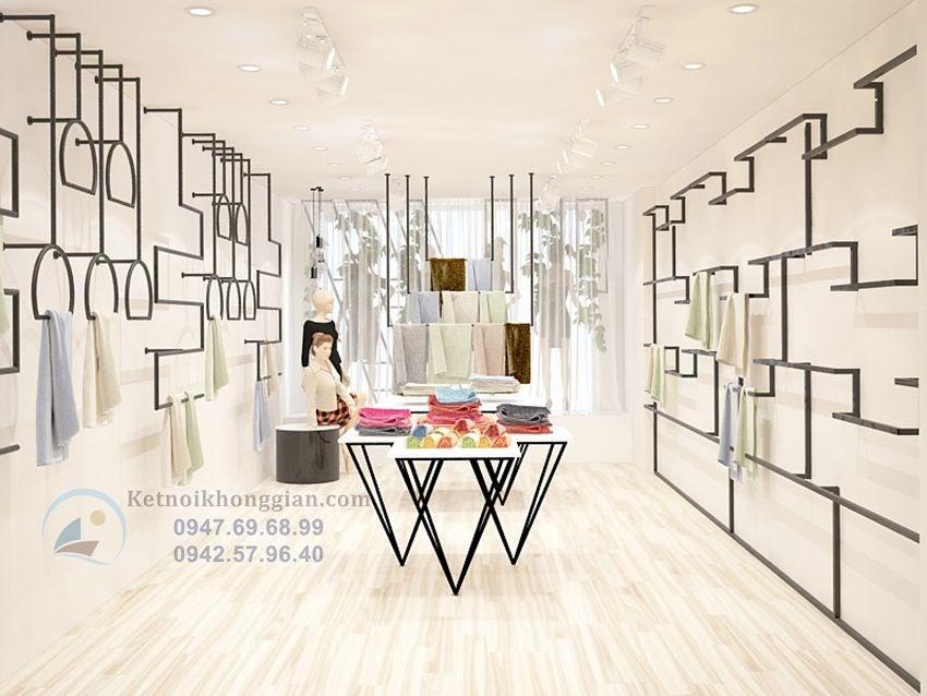 thiết kế shop thời trang công sở sáng tạo trẻ trung