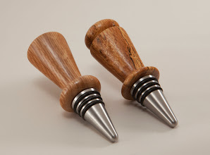 "Photo: Tim Aley 1 1/4"" x 4"" bottle stoppers [Tudor Place oak, stainless steel stoppers with rubber o-rings]"